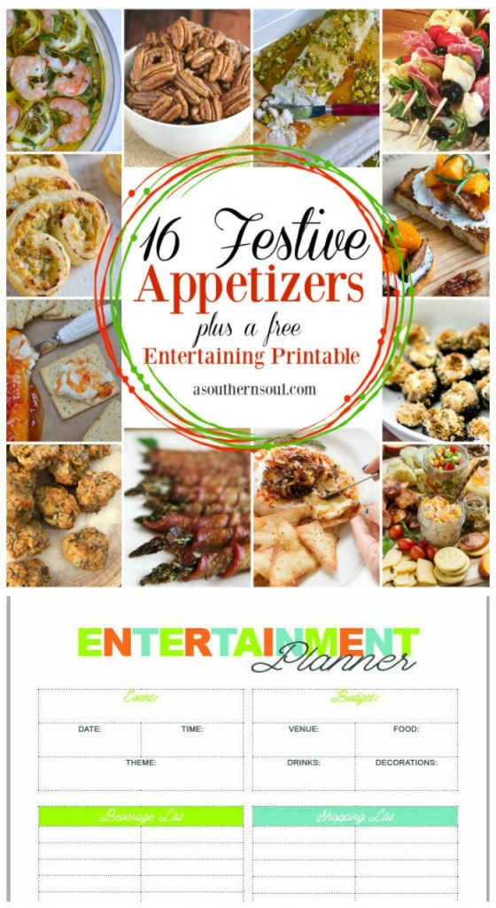 16 festive appetizers and printable