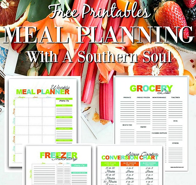 meal planning printables from a southern soul