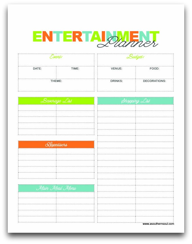 entertaining printable from A Southern Soul
