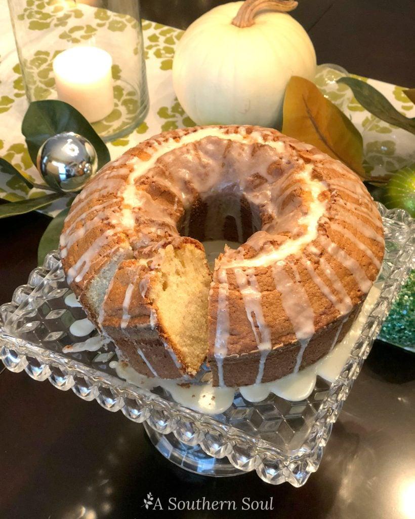 eggnog pound cake sliced