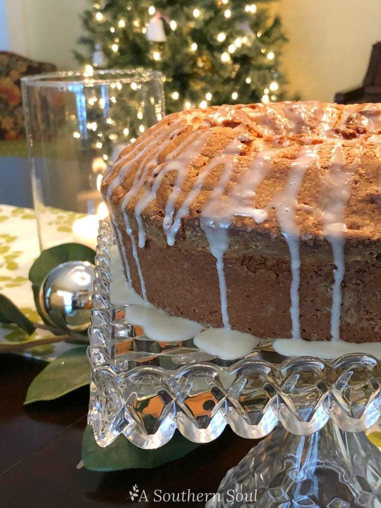 eggnog pound cake on cake stand
