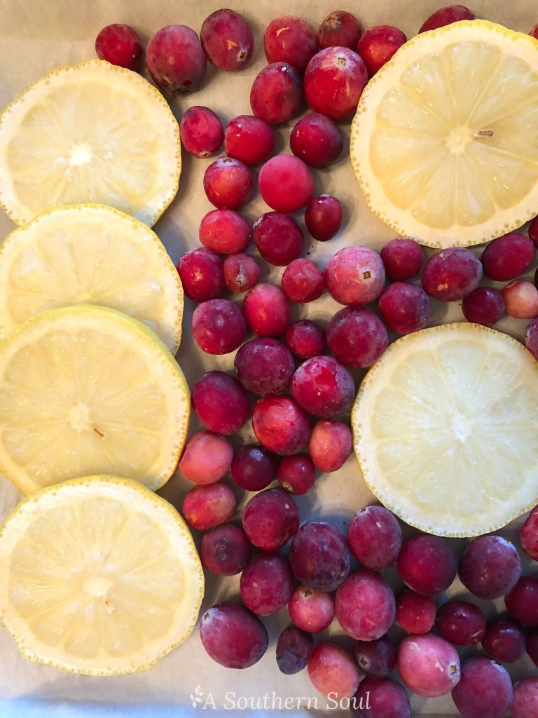 frozen lemons and cranberries