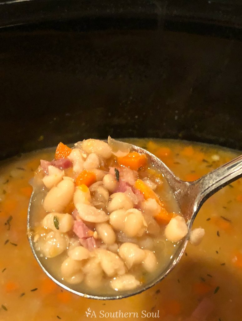 ham and bean soup on sppon