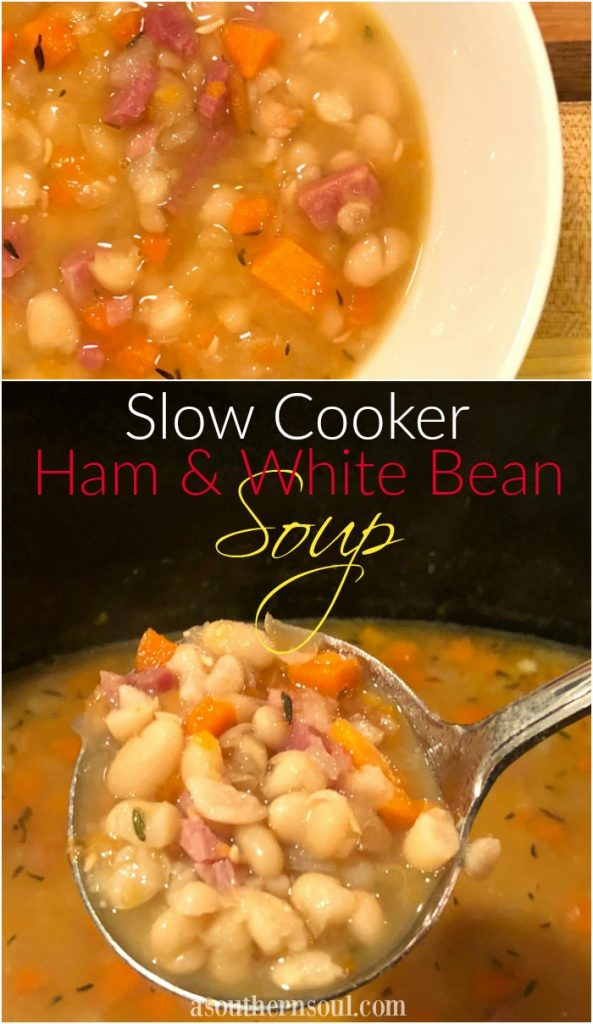 ham and white bean soup in the slow cooker