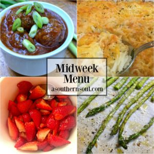 midweed menu, barbecued meatballs, asparagus balsamic strawberries, hashbrown casserole,