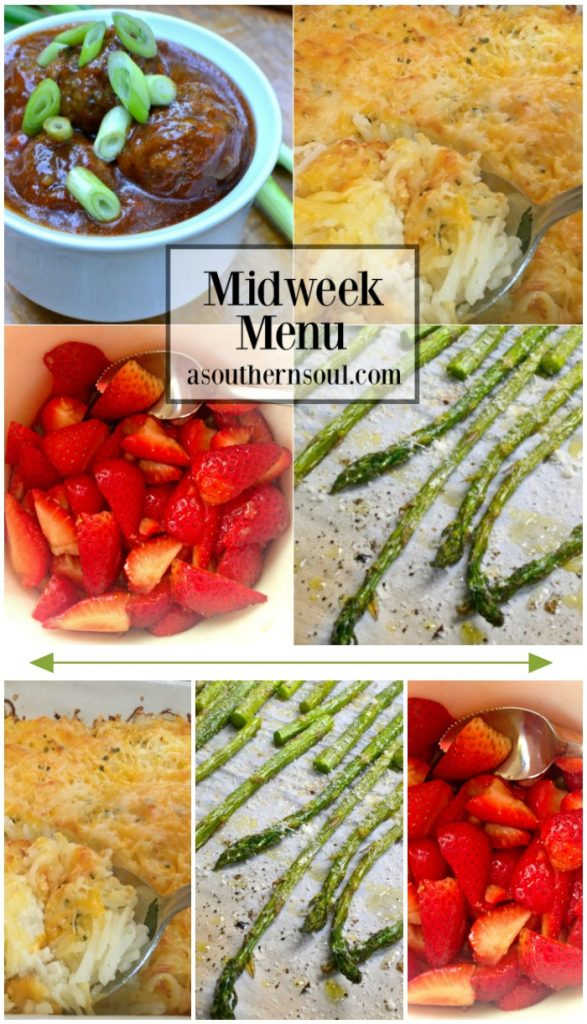 midweek meny for meal planning, meal prep, free printables, main dish, salad, vegetables, desserts