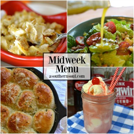 midweek menu, menu, recipes, recipe, meal planning, chicken casserole, dinner roles, salad, vanilla float