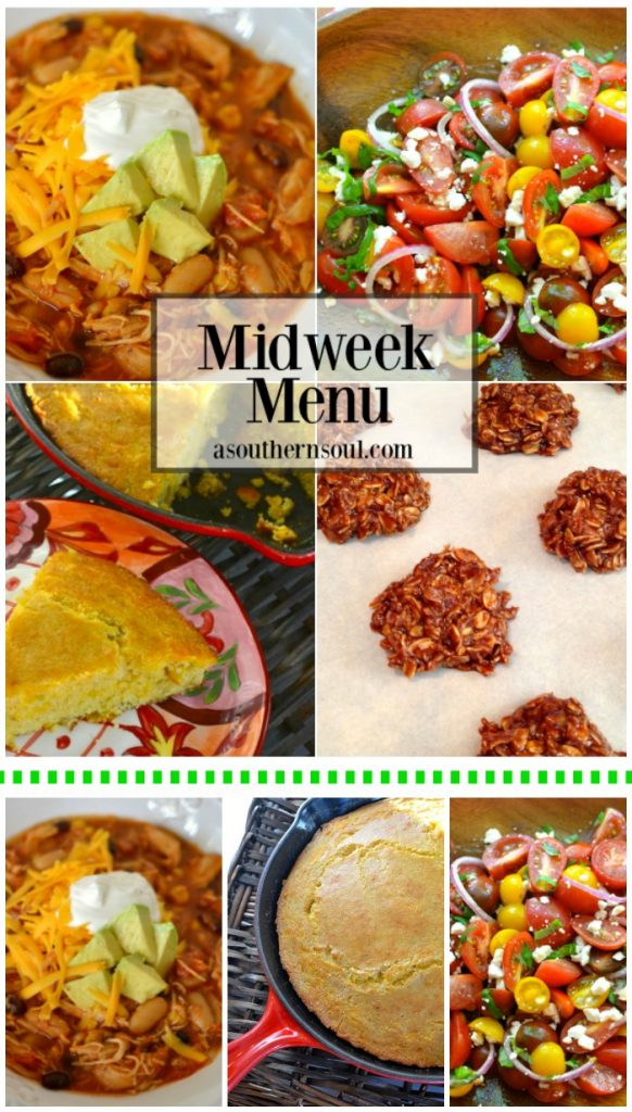 midweek menu, taco soup, cornbread, chocolate cookies, tomato salad, slow cooker, crock pot, recipe, recipes