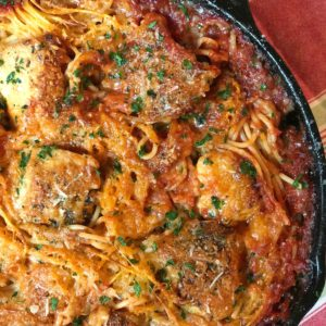 skillet chicken spaghetti with cheese