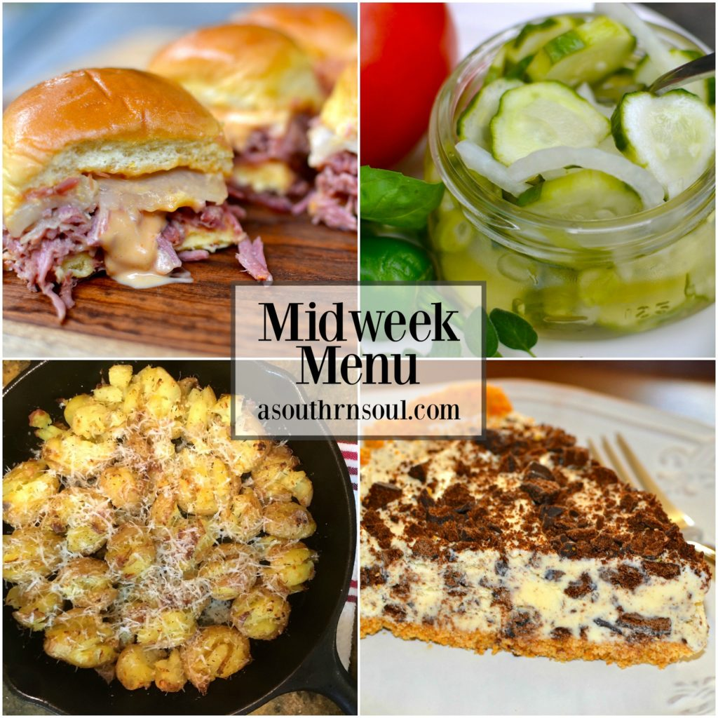 midweek menu, corned beef, crock pot, pickles, skillet potatoes, mint ice cream pie