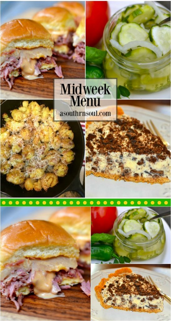 midweek menu#10, corned been, crock pot reuben, potatoes, ice cream pie, pickles