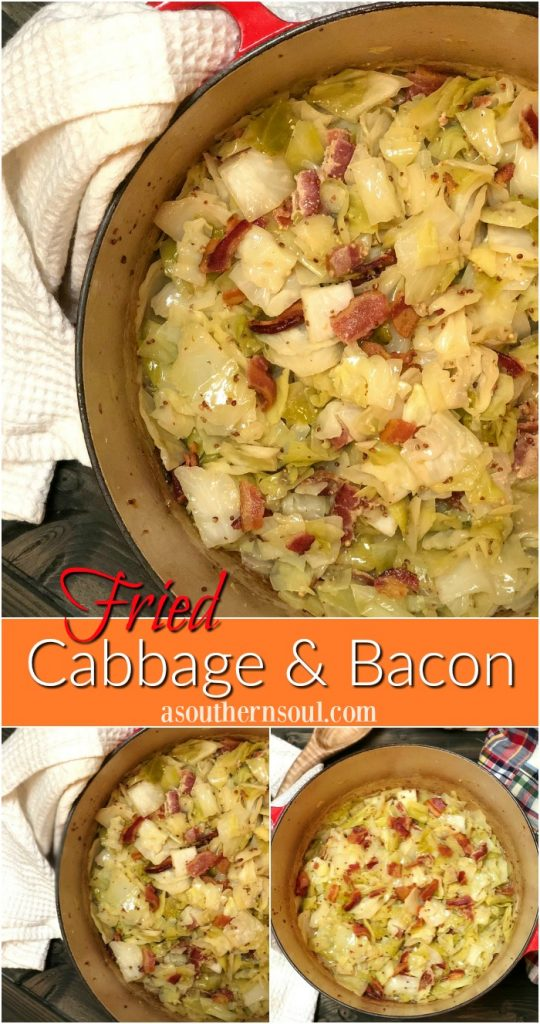 fried cabbage & bacon with mustard for dinner or a side dish