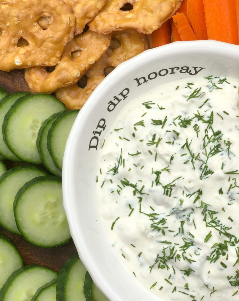 herb dill pickle dip with veggies and pickles