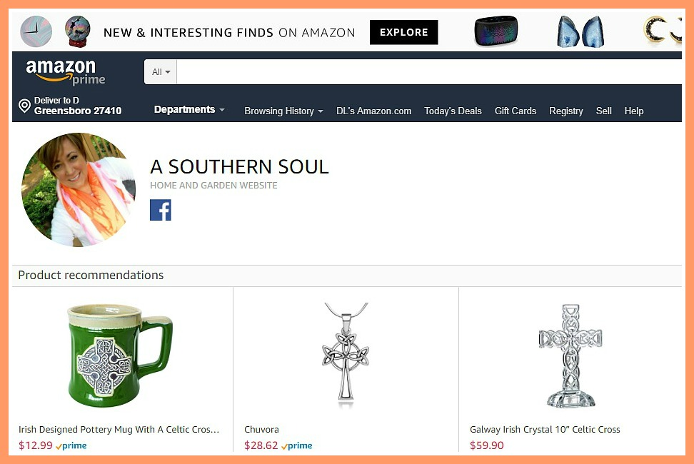 influencer page for a southern soul on amazon