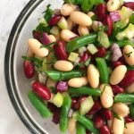 three bean salad with green beans, navy bean and cannelloni