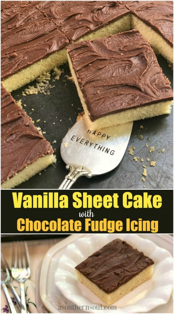 vanilla sheet cake with chocolate fudge icing