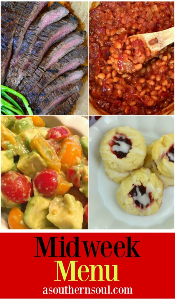 midweek menu with grilled flank steak, baked beans, tomato salad and cookies