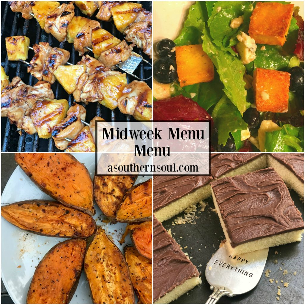 midweek menu #17 - chicken and pineapple skewers
