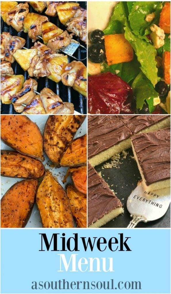 midweek menu #17 recipes with chicken pineapple skewers