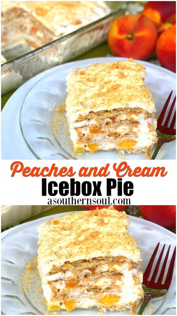 Peaches and cream icebox cake is an old school recipe with update ingredients. Peaches with fresh whipped cream along with graham crackers make a cool cake that's delicious.