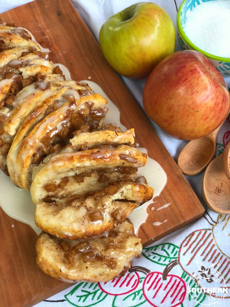 Apple Cinnamon Pull Apart Bread with canned biscuits and a sweet glaze topping