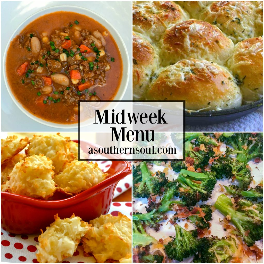 Midweek Menu #20 with slow cooker beef and bean soup, roasted broccoli, garlic rolls made in a cast iron skillet and coconut macaroons makes it easy to get a delicious supper on the table.