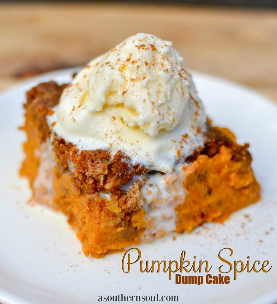 Pumpkin Spice Dump Cake is full of the warm flavors of fall. An easy to make cake that starts with a box mix.