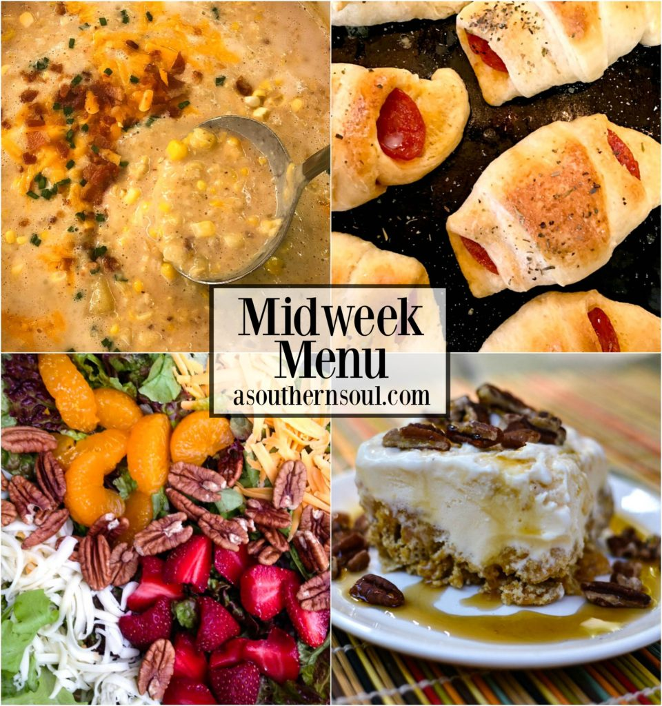 Creamy corn chowder, pizza crescent bites, fresh salad and maple ice cream cake is what's on the menu this week!
