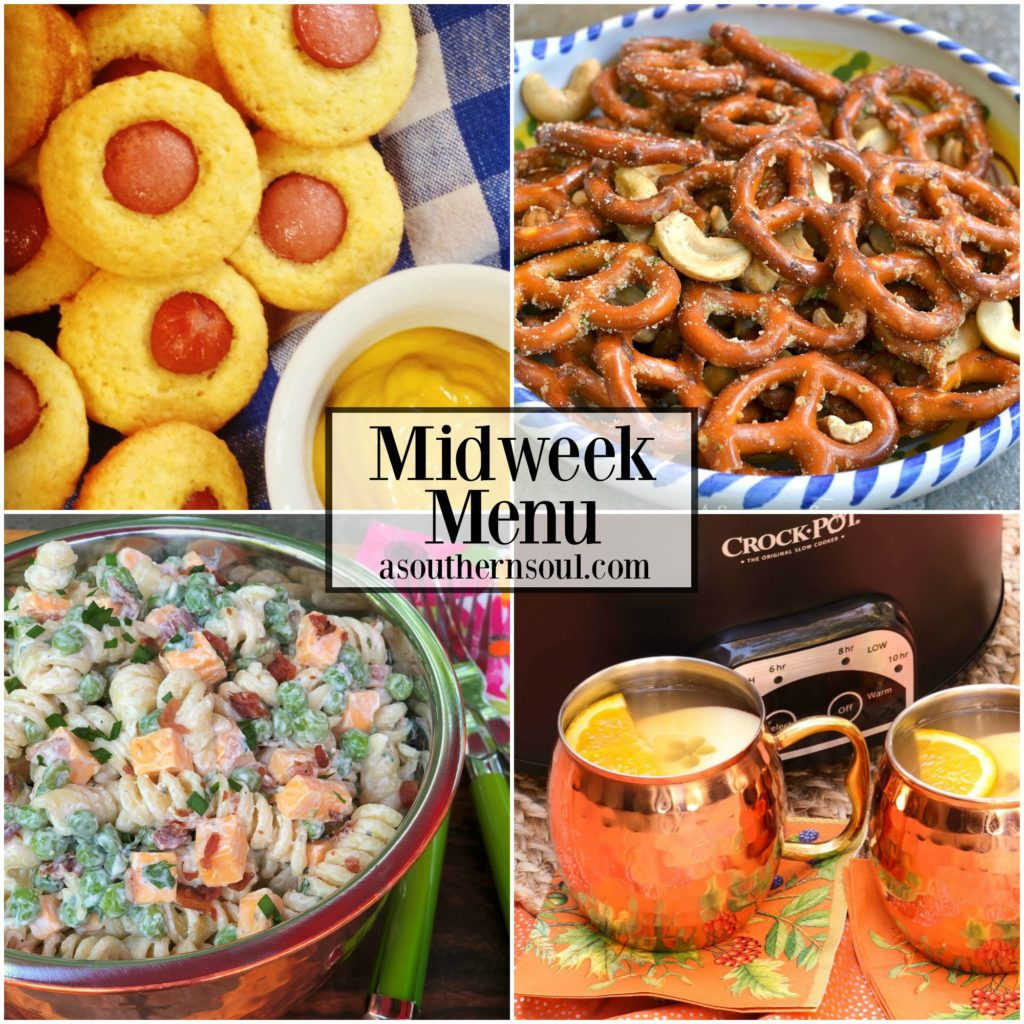 Corn Dog Mullins, Bacon Ranch Pasta Salad, Spicy Pretzels and Mulled Cider make up this easy, menu perfect for a fun night at home!