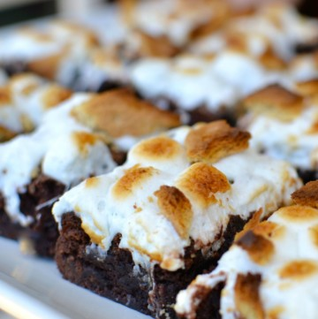 Smores brownies are easy to make since they start with a box cake mix. Just add marshmallow and graham cracker then broil until they're ooey and gooey!