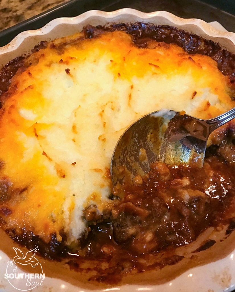 Beef Tips Shephard's Pie is the ulitmate dish for meat and potatoes lovers. Beef tips cooked low and slow then wrapped in buttery mashed potatoes will have everyone running to the supper table.