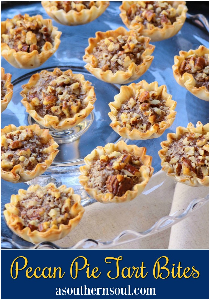 Pecan Pie Tart Bites are a fun little treat loaded with all the flavor of a regular slice of pie! Easy to make with the help of store bought phyllo cups, this dessert comes together in less than 15 minutes.