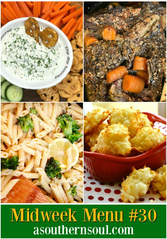 Midweek Menu #30 includes an easy to make appetizer, slow cooker Irish pot roast, pasta and broccoli and coconut cookies. Four great recipes that will have your family running to the supper table!