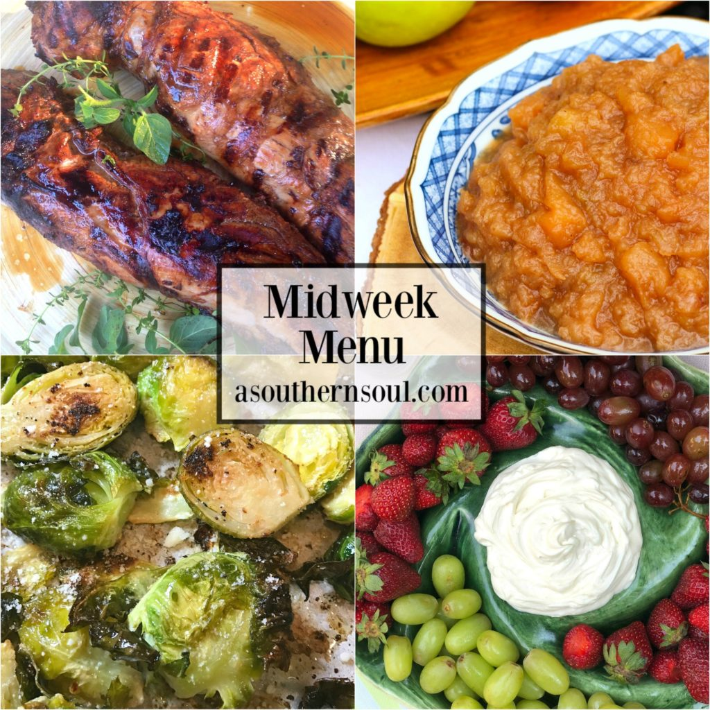 Marinated pork tenderloin, crock pot applesauce, roasted brussel sprouts and three ingredient fruit dip with strawberries are all great together for a midweek menu!
