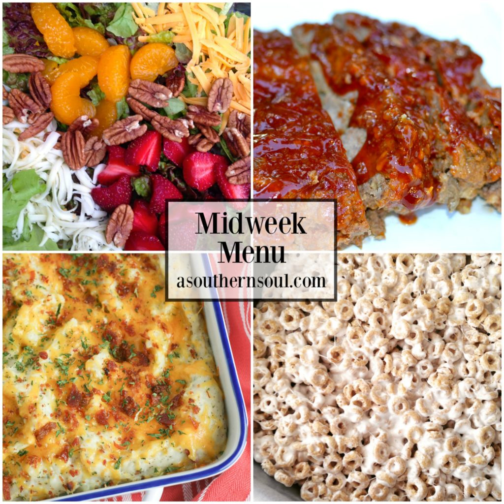 Midweek Menu #33 includes salad with homemade dressing, glazed meatloaf, twice baked potato casserole and honey oats marshmallow treats!