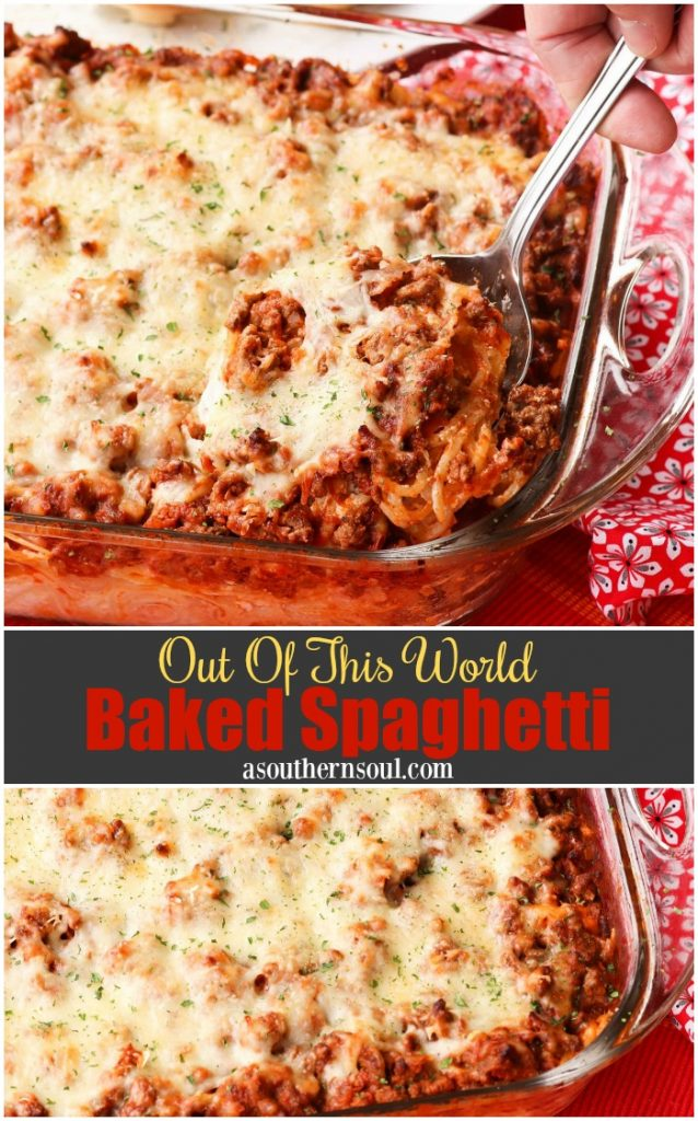 Bake Spaghetti taken to a whole new level three cheeses and a meaty tomato sauce. It is out of the world delicious, freezes beautifully and perfect for covered dish suppers.