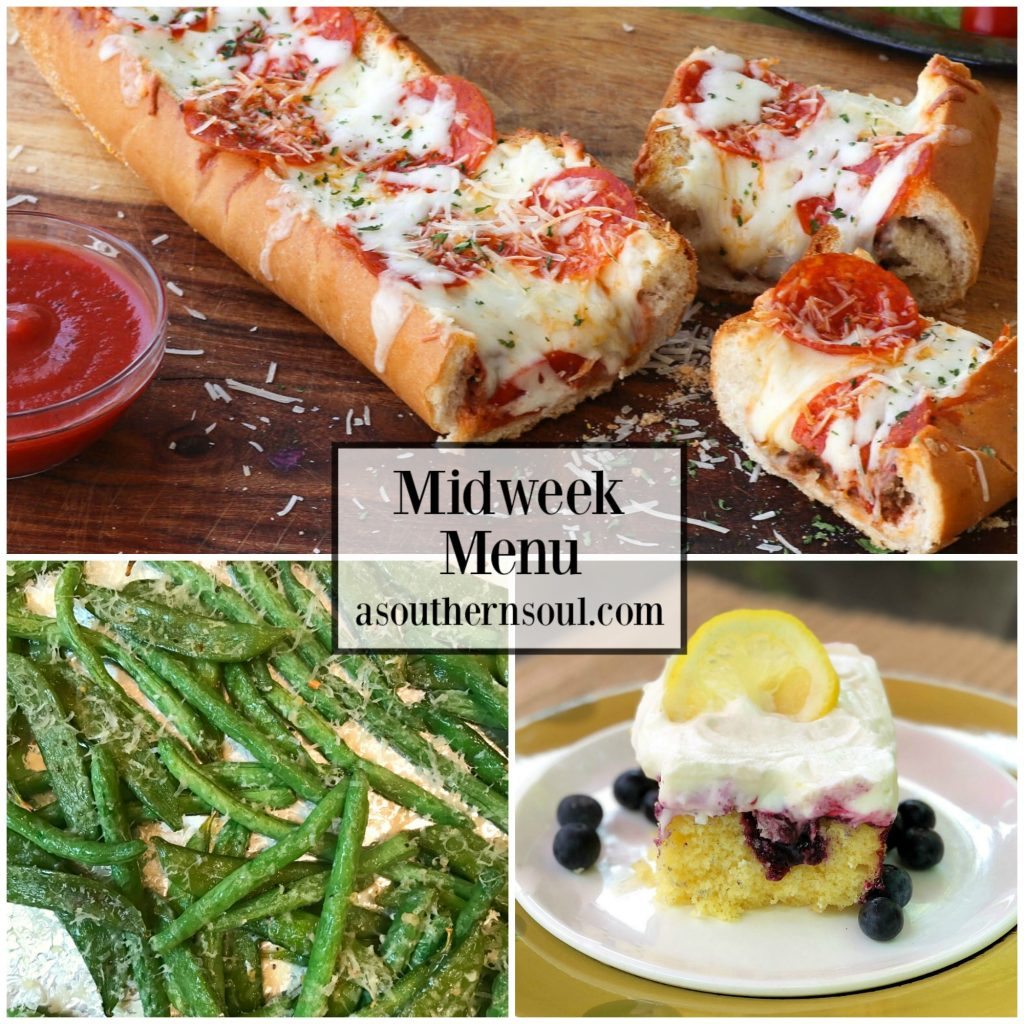 Midweek Menu featuring meat lovers stuffed french bread pizza, Parmesan green breans and lemon blueberry poke cake.