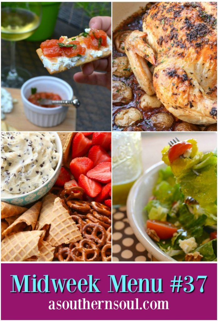 Herb butter roasted chicken with potatoes, tomato and cheese appetizer, fresh salad and chocolate chip cheesecake dip are the perfect recipes for a delicious Valentine's Day dinner.