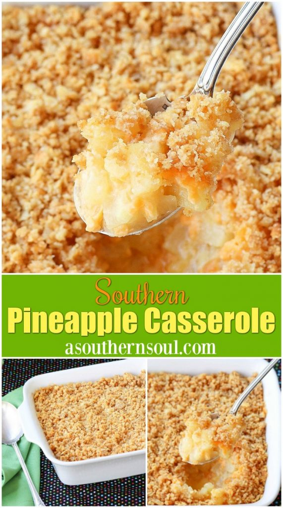 Southern Pineapple Casserole is a classic dish made with pineapple and cheese topped with a buttery cracker crust.