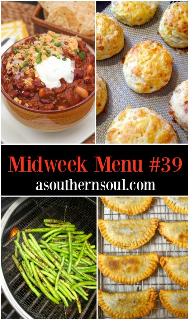 Bloody Mary Chili, cheese biscuits, roasted green beans and fried cherry pies are on the recipes on Midweek Menu #39.