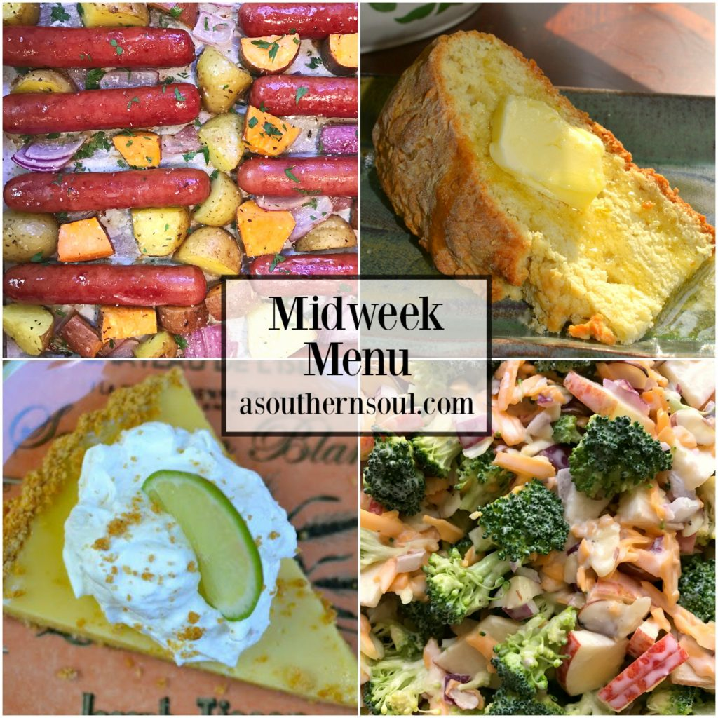 Midweek Menu #40 recipes include sheetpan brats and potatoes, broccoli apple slaw, Irish soda bread and key lime pie.