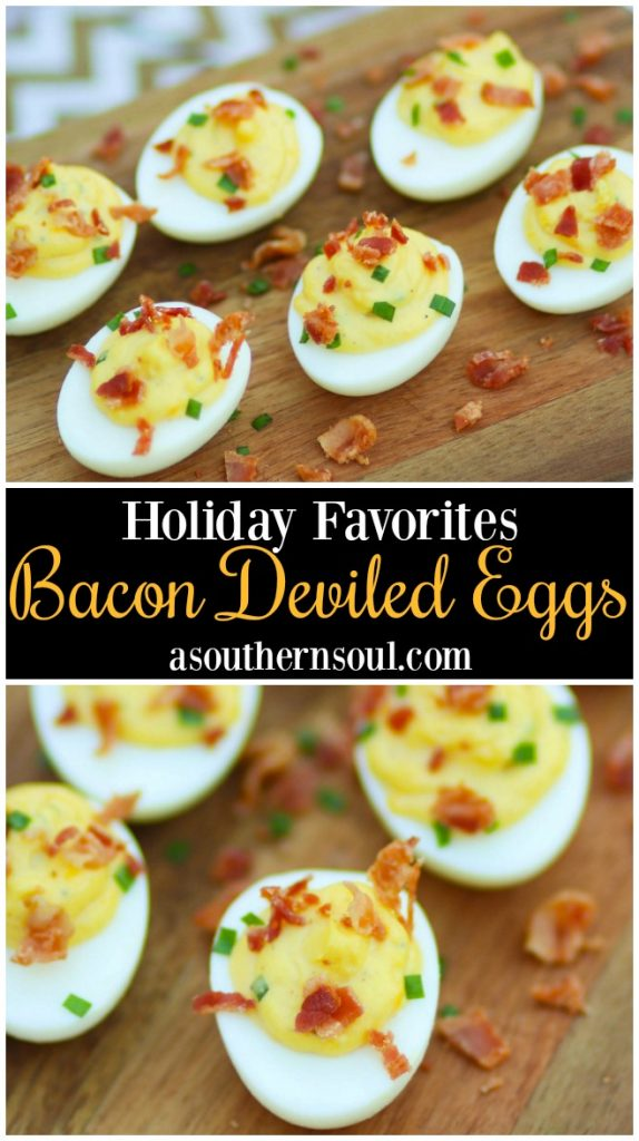 Bacon Deviled Eggs are creamy with just the right amount of mayonnaise plus an added tang of horseradish. Perfect for brunch, Easter, this holidays, baby and wedding showers.