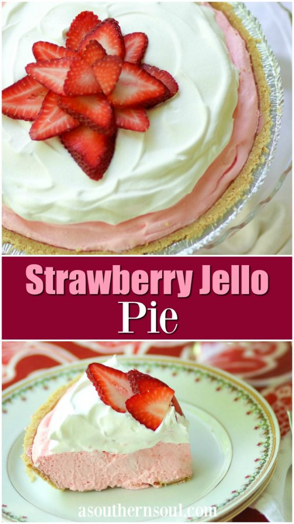 Strawberry Jello Pie made with fresh whipped cream and strawberry jello is an easy to make dessert that is cool and delicious. It's perfect for the holidays, potluck or covered dish suppers or a weeknight meal.
