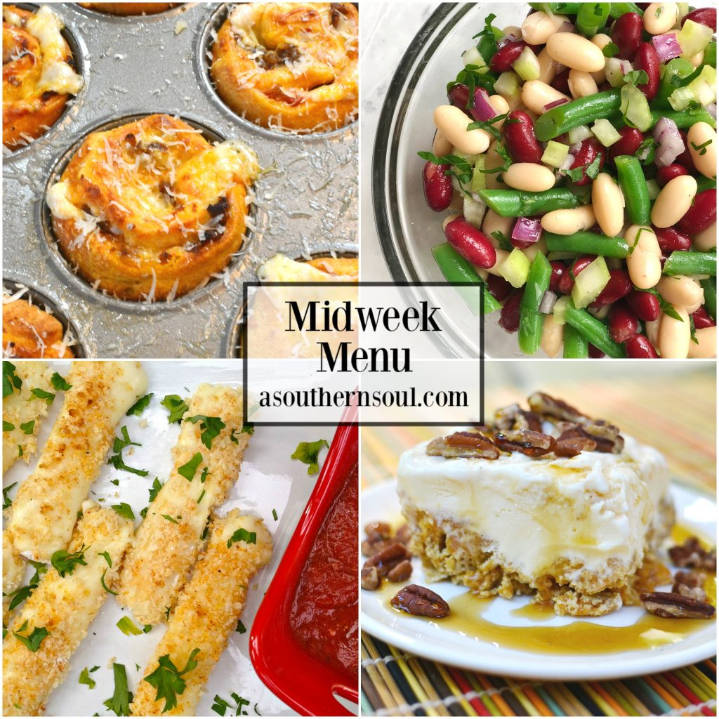 Midweek Menu #49 featuring pizza rolls, three bean salad, baked cheese sticks and crunchy ice cream bars are all easy to make recipes for a no stress supper.