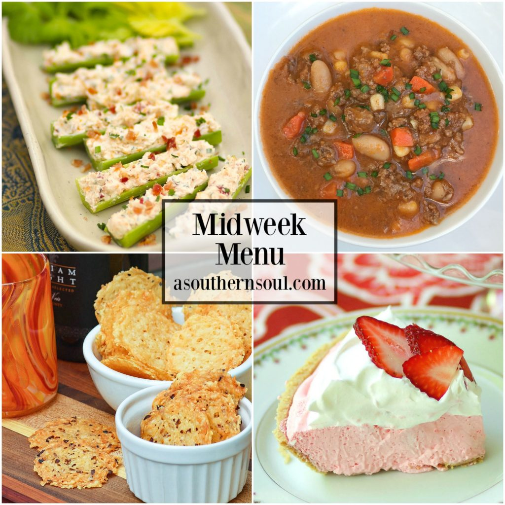 Midweek Menu featuring Ground Beef and Bean Soup, Stuffed Celery, Parmesan Crisps and Strawberry Jello Pie is an easy to make menu everyone will love!