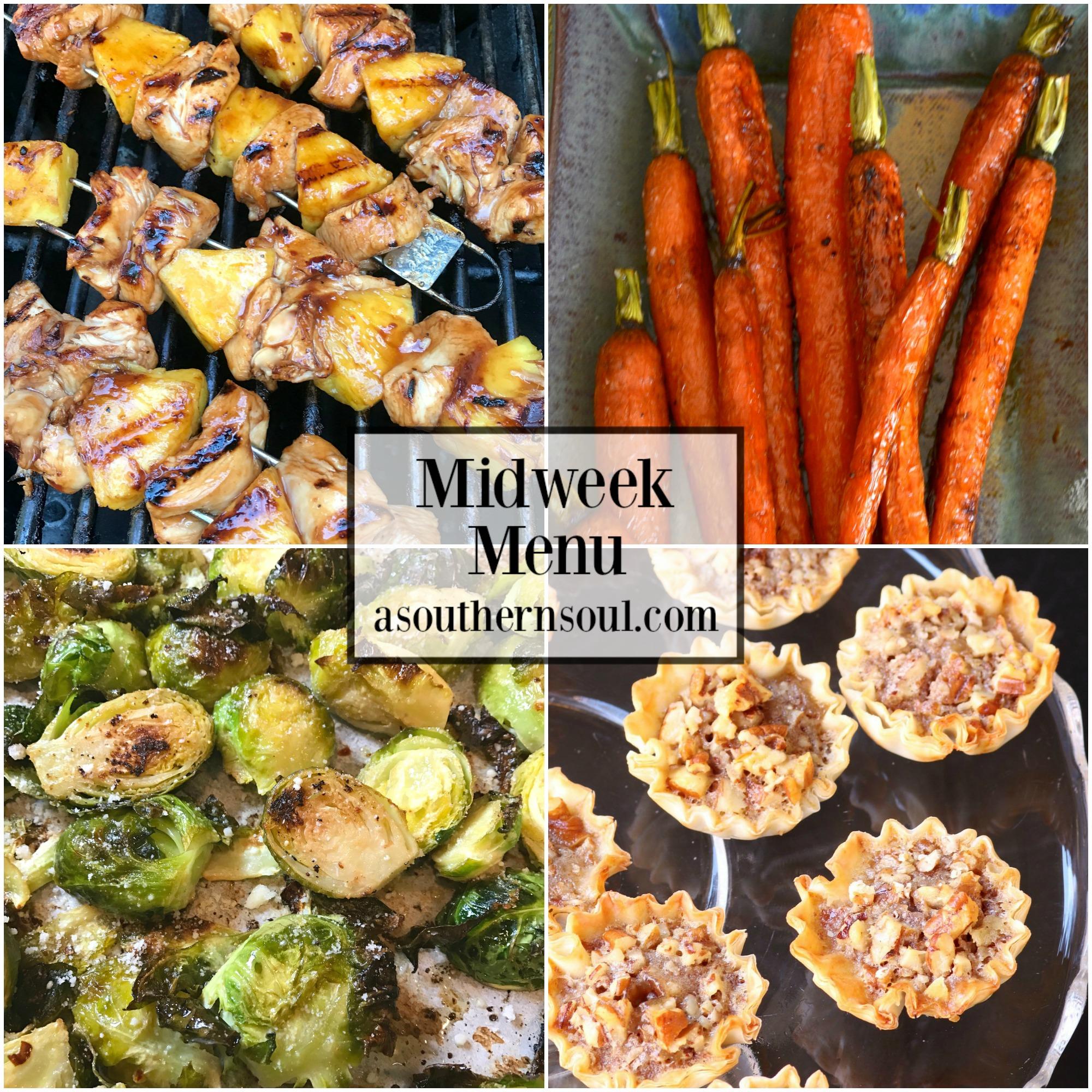 Midweek Menu #52 - Grilled Chicken Pineapple Skewers