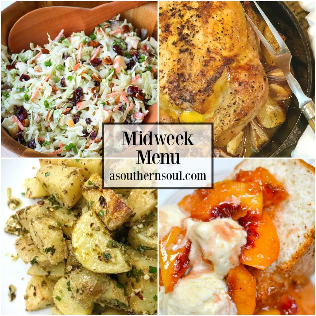Perfect Lemon Roasted Chicken, Cranberry Pecan Chicken, Pesto Potato Salad and Grilled Peaches are what's on Midweek Menu #53 this week.