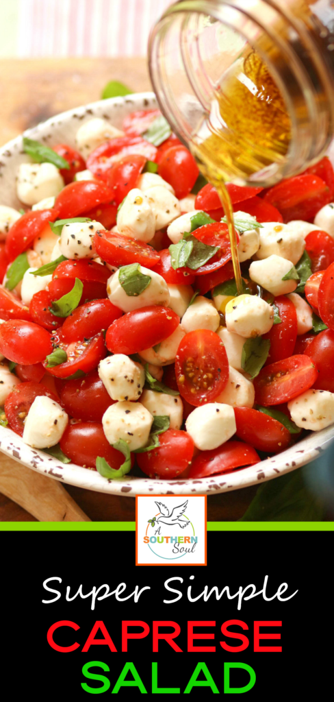 Grape tomatoes, mozzarella balls fresh basil tossed on a light oil and vinegar dressing for a simple that's perfect for any meal.