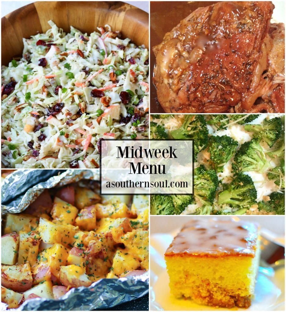 Midweek Menu #59 features Cranberry Pecan Slaw, Slow Cooker Brown Sugar Balsamic Pork Roast, Cheesy Ranch Potatoes in Foul Packs, Roasted Broccoli and Honey Bun Cake.