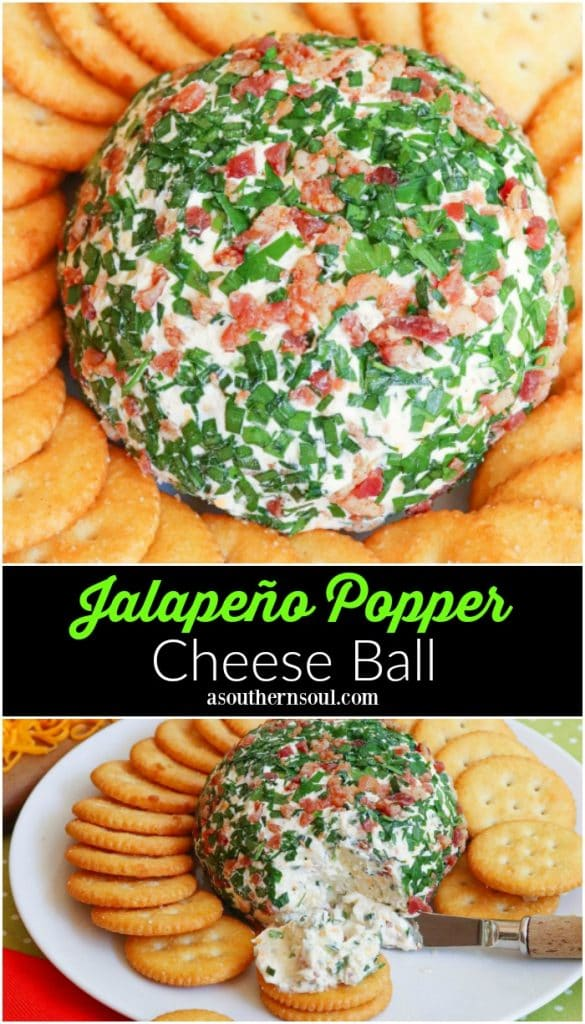 Jalapeno Popper Cheese Ball made with cream cheese, jalapenos, cheddar cheese, ranch seasoning, bacon and chives is an easy to make crowd please appetizer!